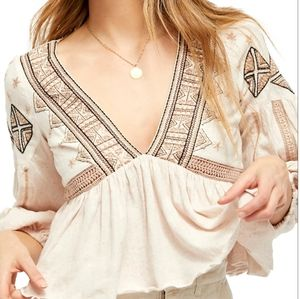 Free People aria embroidered crop boho top